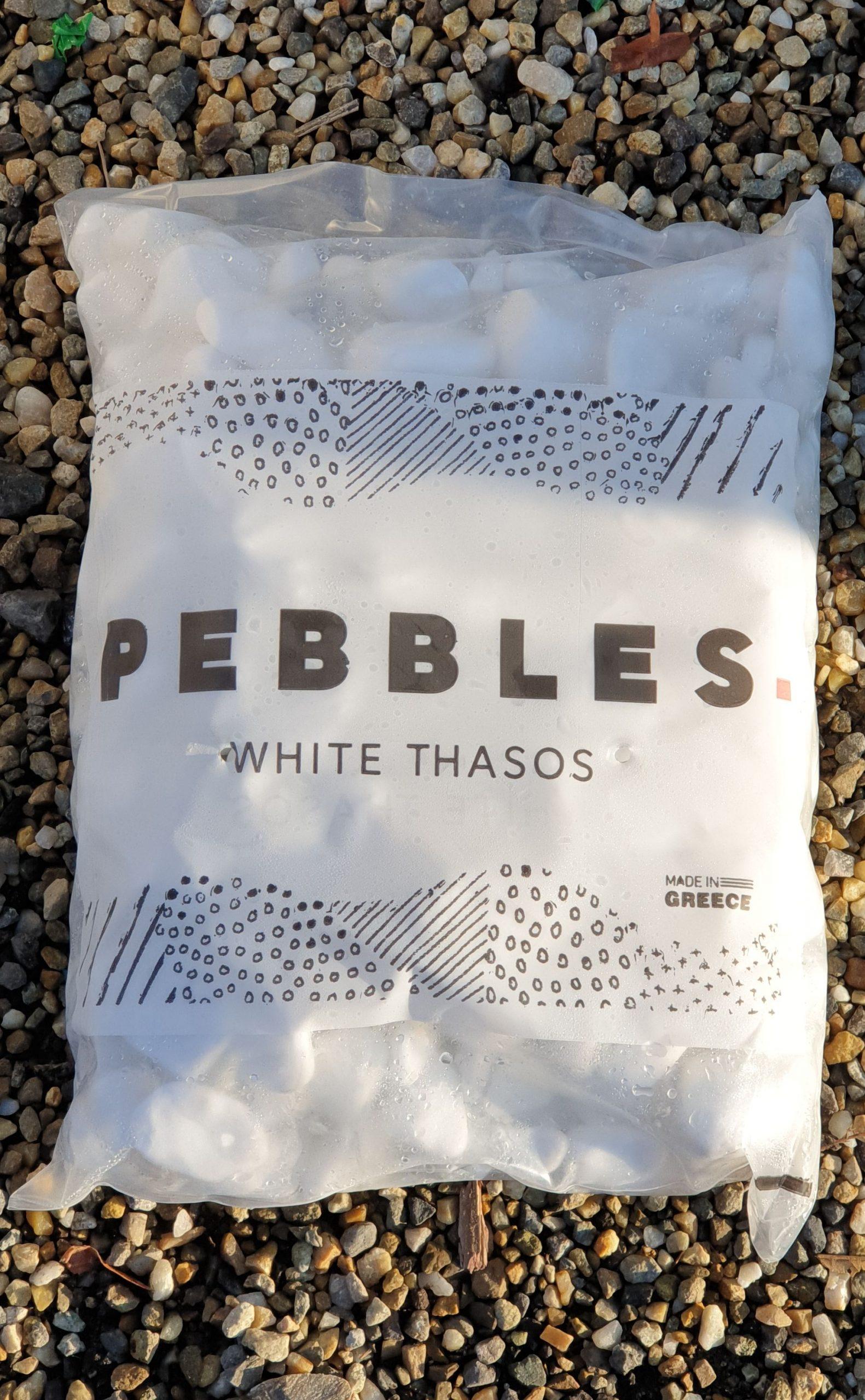 Piatra rotunjita Perfect White Thassos - sac 20 kg